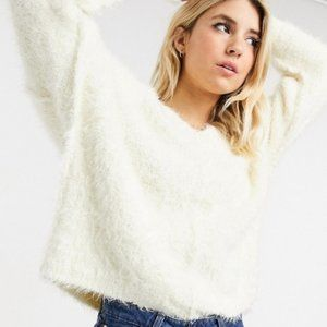Free People ~ Icing Slouchy Furry & Soft V-Neck Pullover